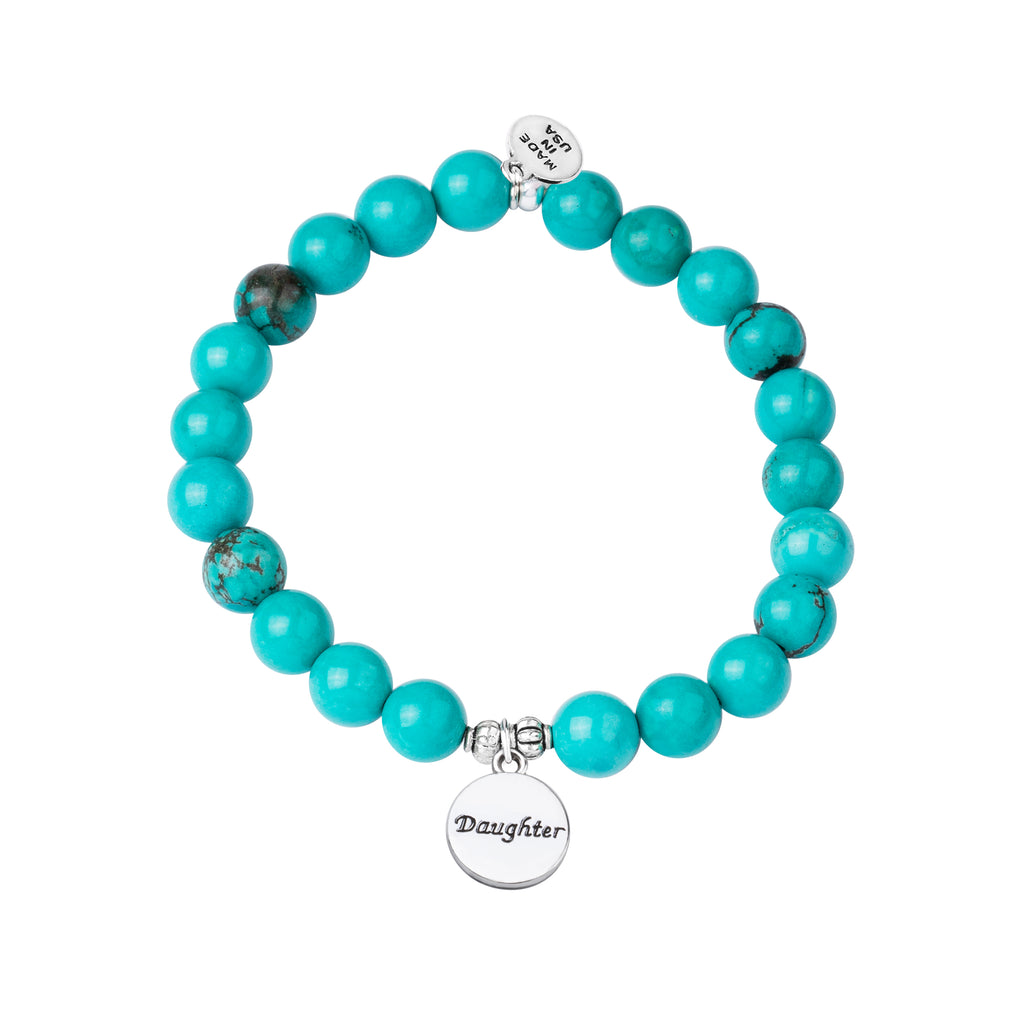 Stone Beaded Charm Bracelet | Daughter | Turquoise