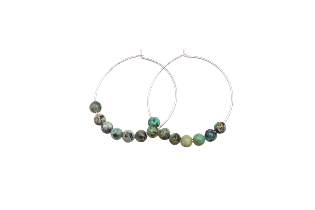 Stone Hoops | Earrings | African Turquoise