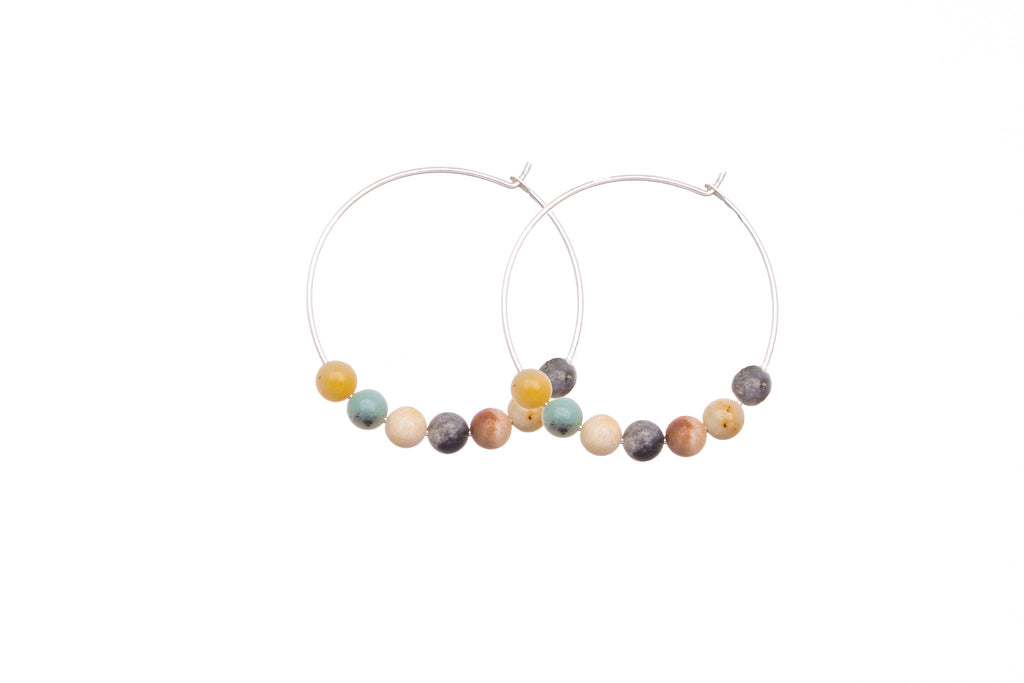Stone Hoops | Earrings | Amazonite