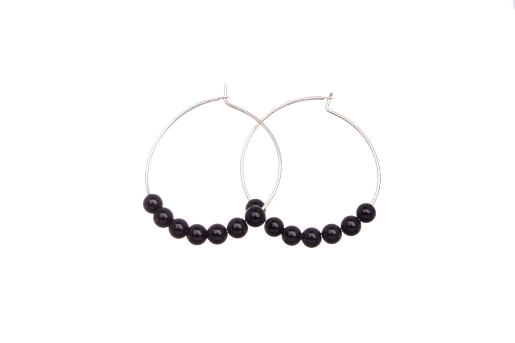 Stone Hoops | Earrings | Onyx
