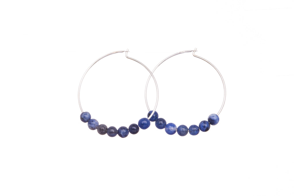 Stone Hoops | Earrings | Sodalite