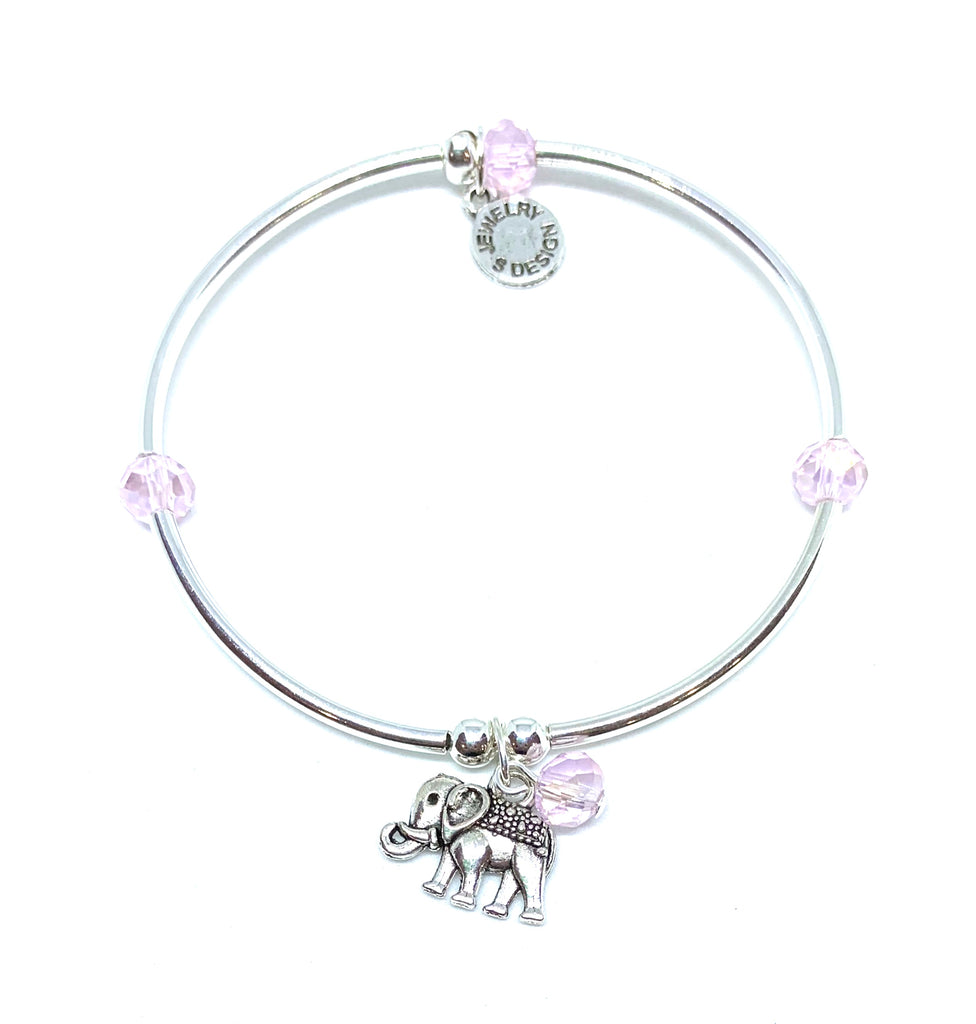 Elephant | Soft Bangle Charm Bracelet | Kids | Blush