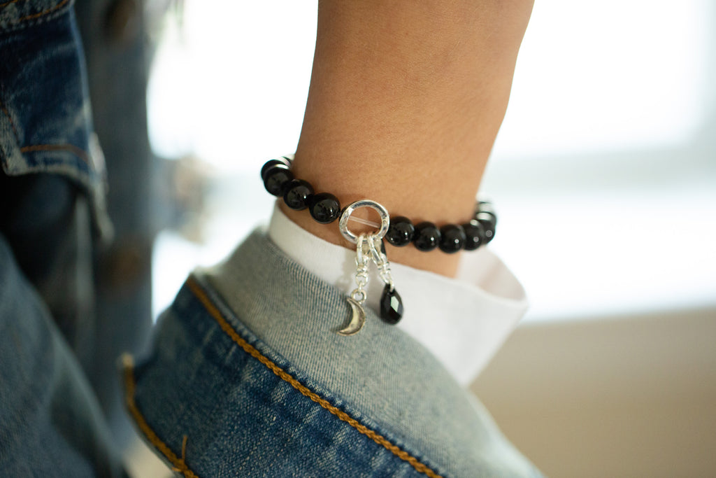 A - Charm Holder | Stone Beaded Bracelet Station | Onyx-Intention (Shown)