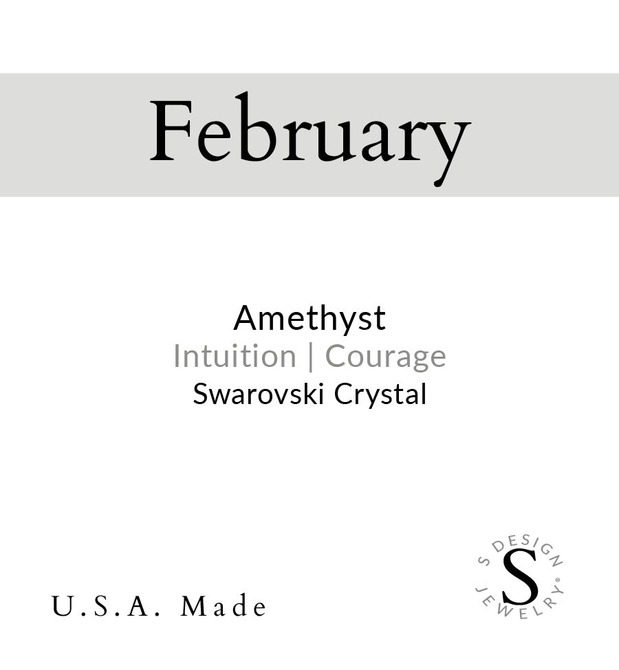 Birthstone | Earring | February - Amethyst-Courage