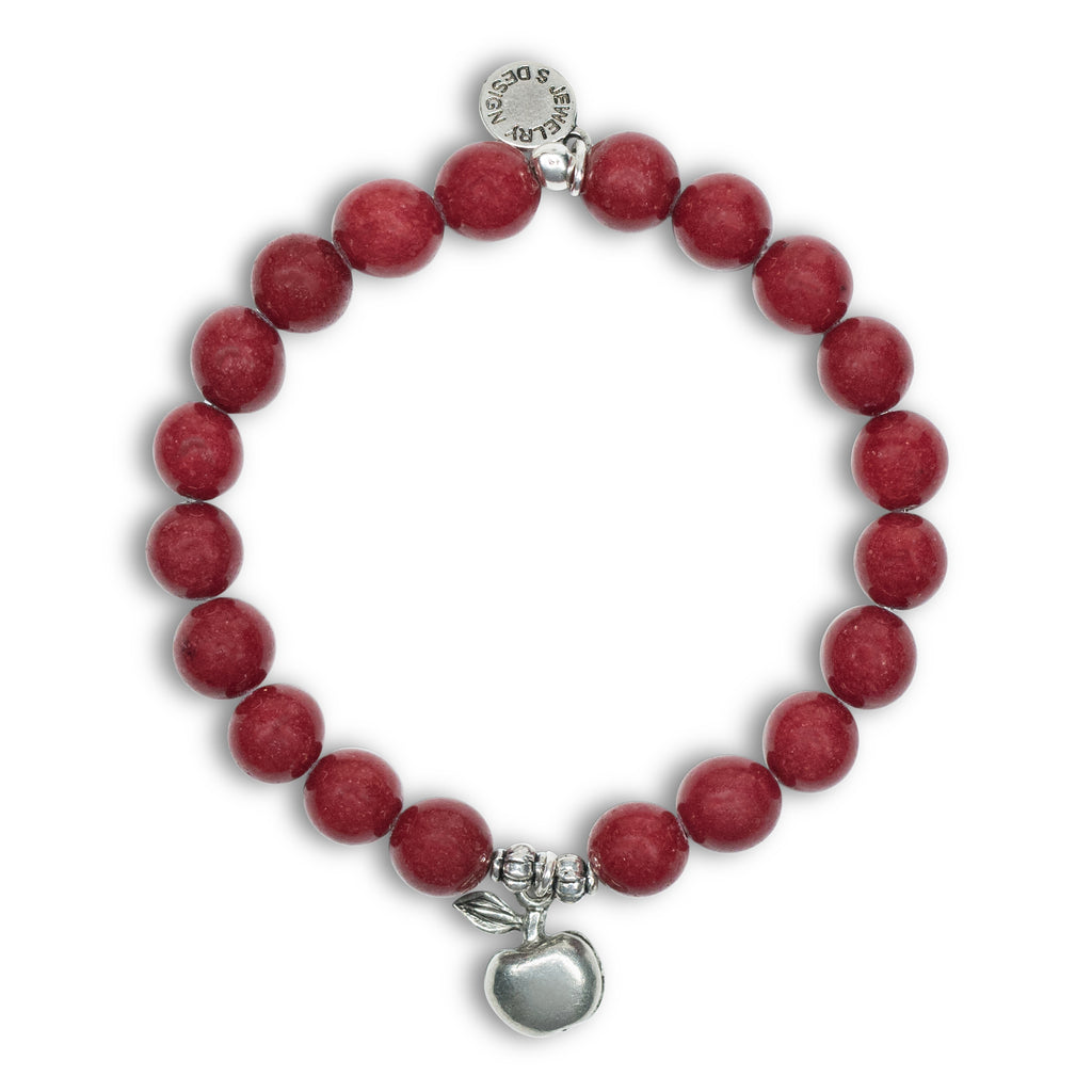 Apple | Stone Beaded Charm Bracelet | Bordeaux Jade - Protection