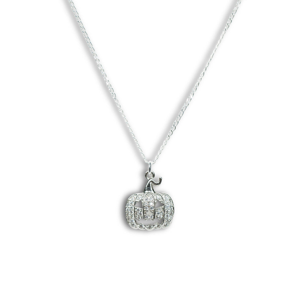 Pumpkin | Little Layer Necklace | Silver Charm-Pave