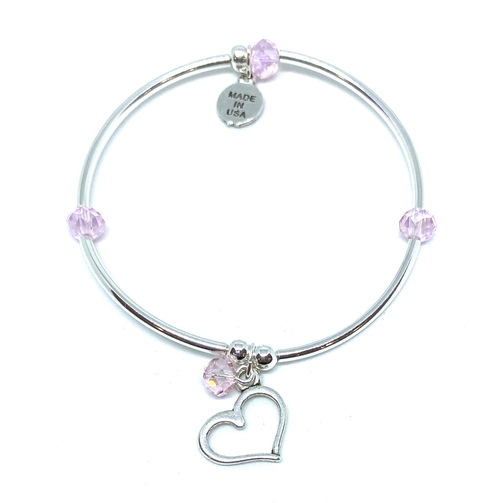Heart | Soft Bangle Charm Bracelet | Kids | Blush