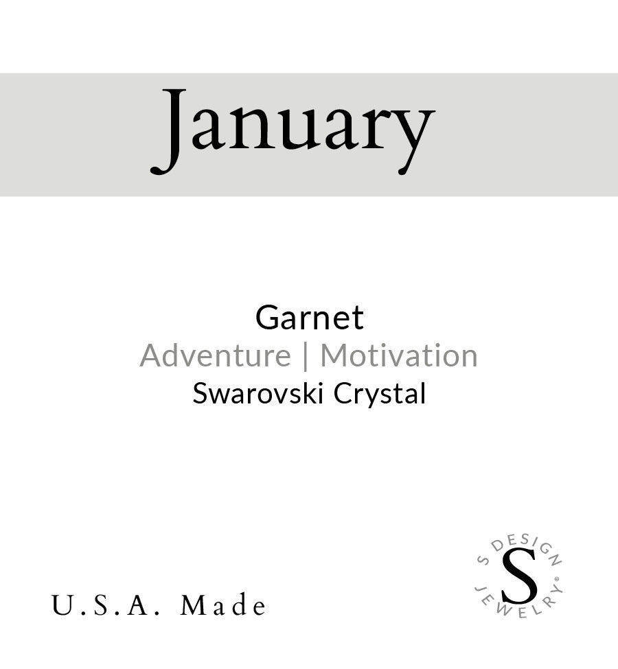 Birthstone | Earring | January - Garnet-Motivation