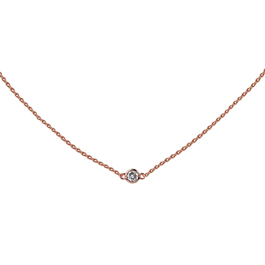 Petite CZ | Little Layer Necklace | Sterling Silver - Rose Gold