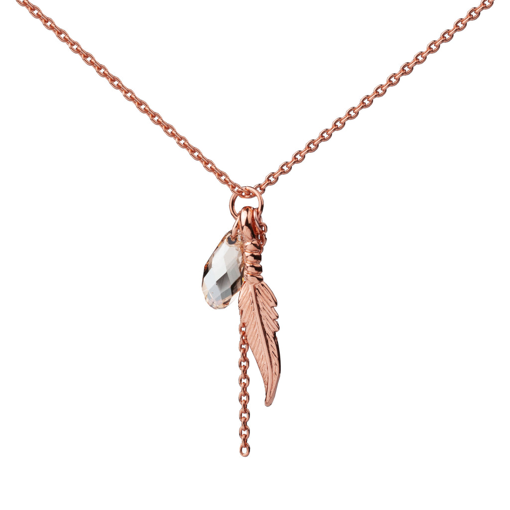Feather | Little Layer Necklace | Rose Gold