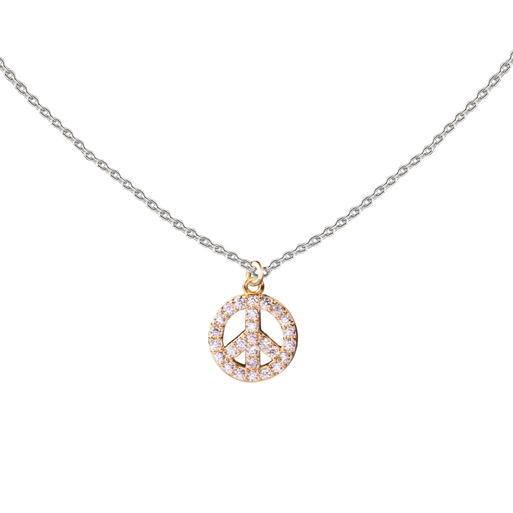 Peace | Little Layer Necklace | Gold-Pave CZ