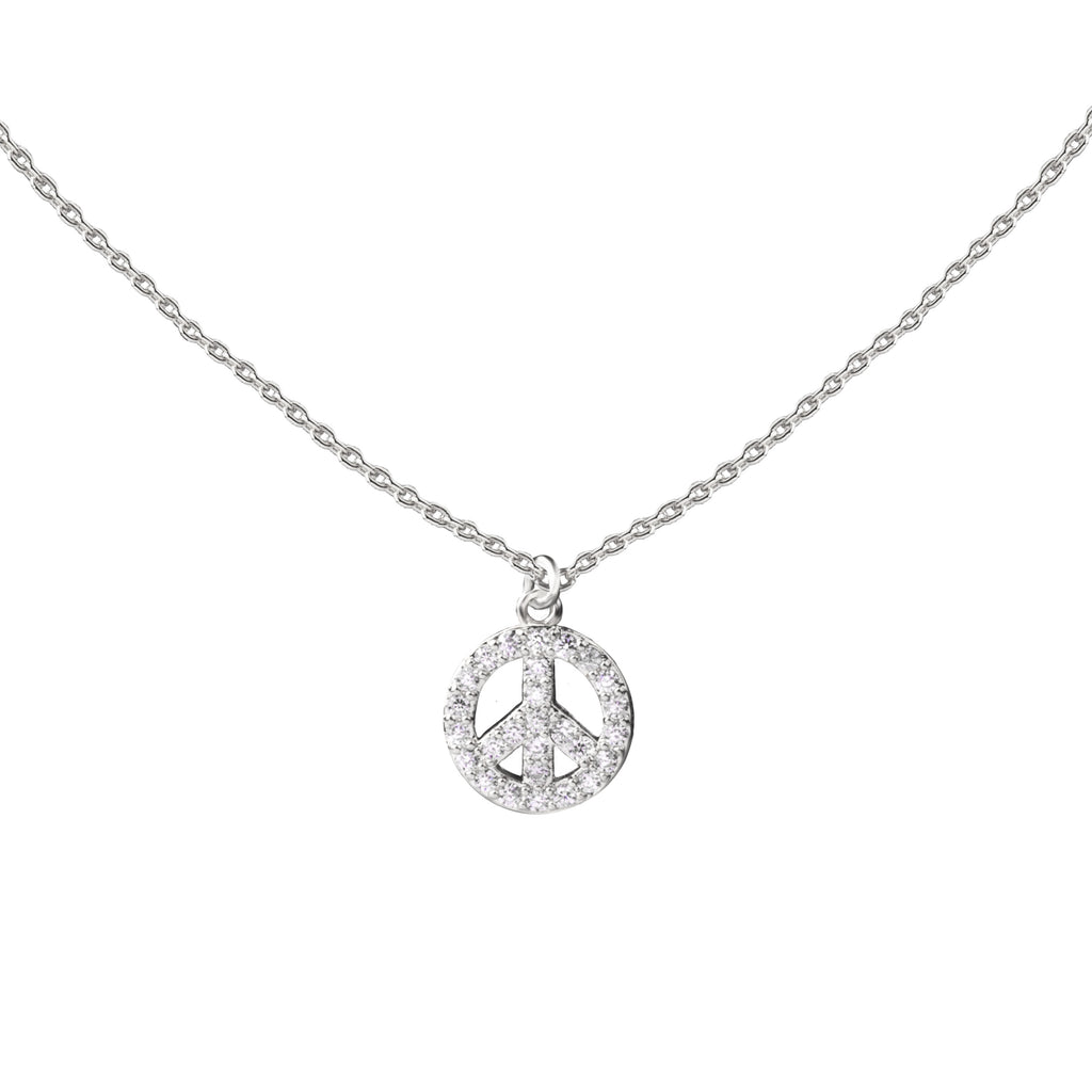 Peace | Little Layer Necklace | Sterling Silver-Pave CZ