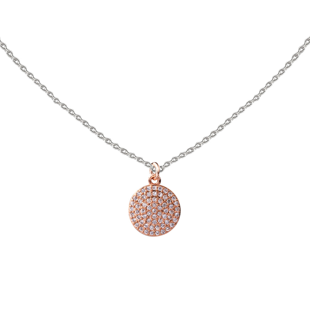 Pave Coin | Little Layer Necklace | Rose Gold