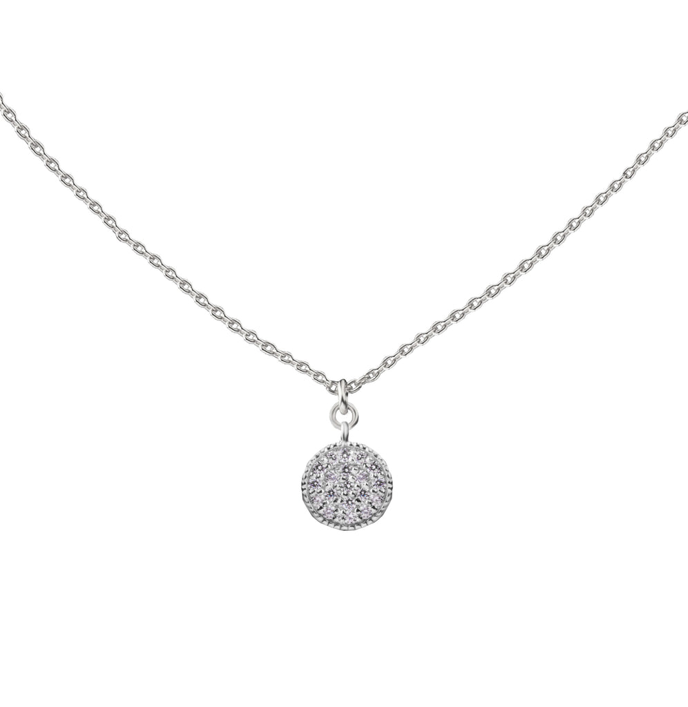 Pave Coin | Little Layer Necklace | Sterling Silver
