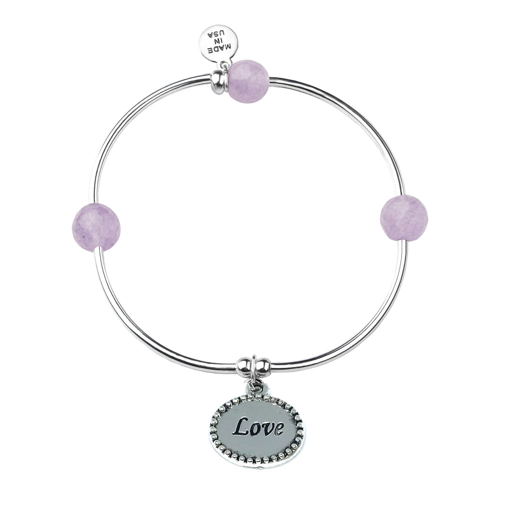 Love | Soft Bangle Charm Bracelet | Light Amethyst - Inspiration