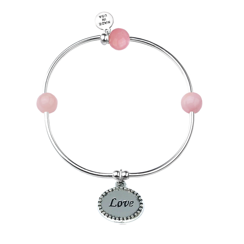 Love | Soft Bangle Charm Bracelet | Rose Quartz - Eternal Love