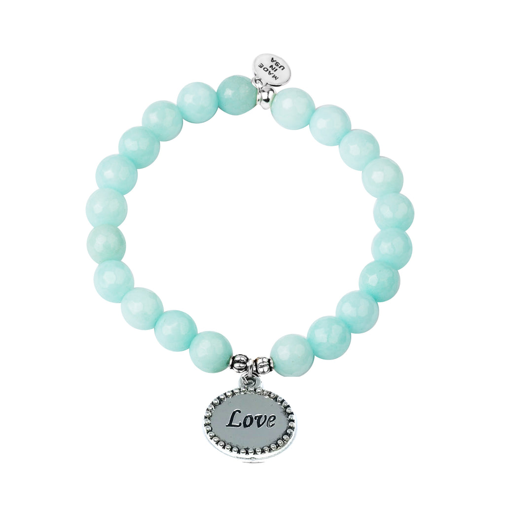 Love | Stone Beaded Charm Bracelet | Tiffany Blue Agate - Serenity