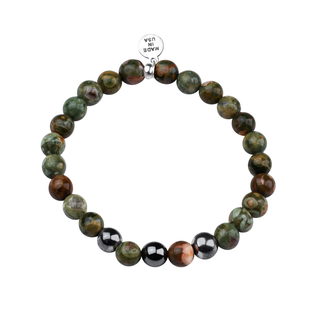 Men's -Stone Beaded Bracelet | Determination - Camouflage Jasper Stone