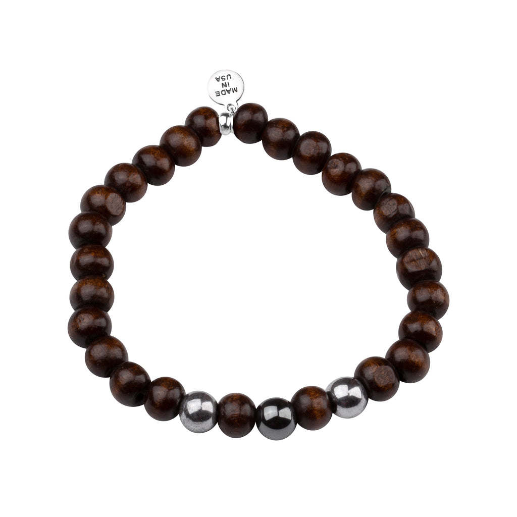 Men's -Wood Beaded Bracelet | Determination - Dk. Brown