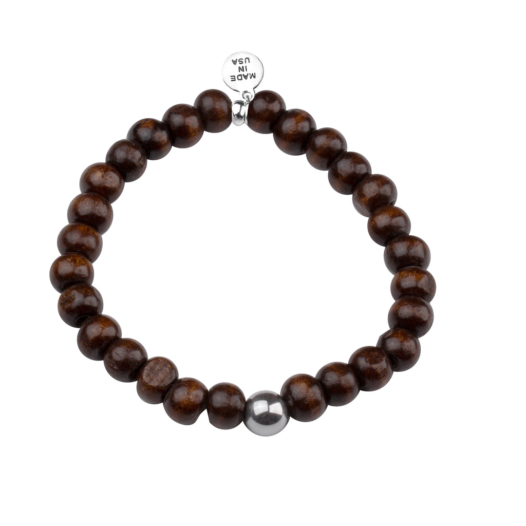 Men's -Wood Beaded Bracelet | Strength - Dark Brown Wood