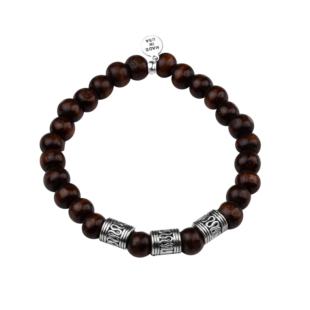 Men's -Wood Beaded Bracelet | Tribal - Dark Brown Wood