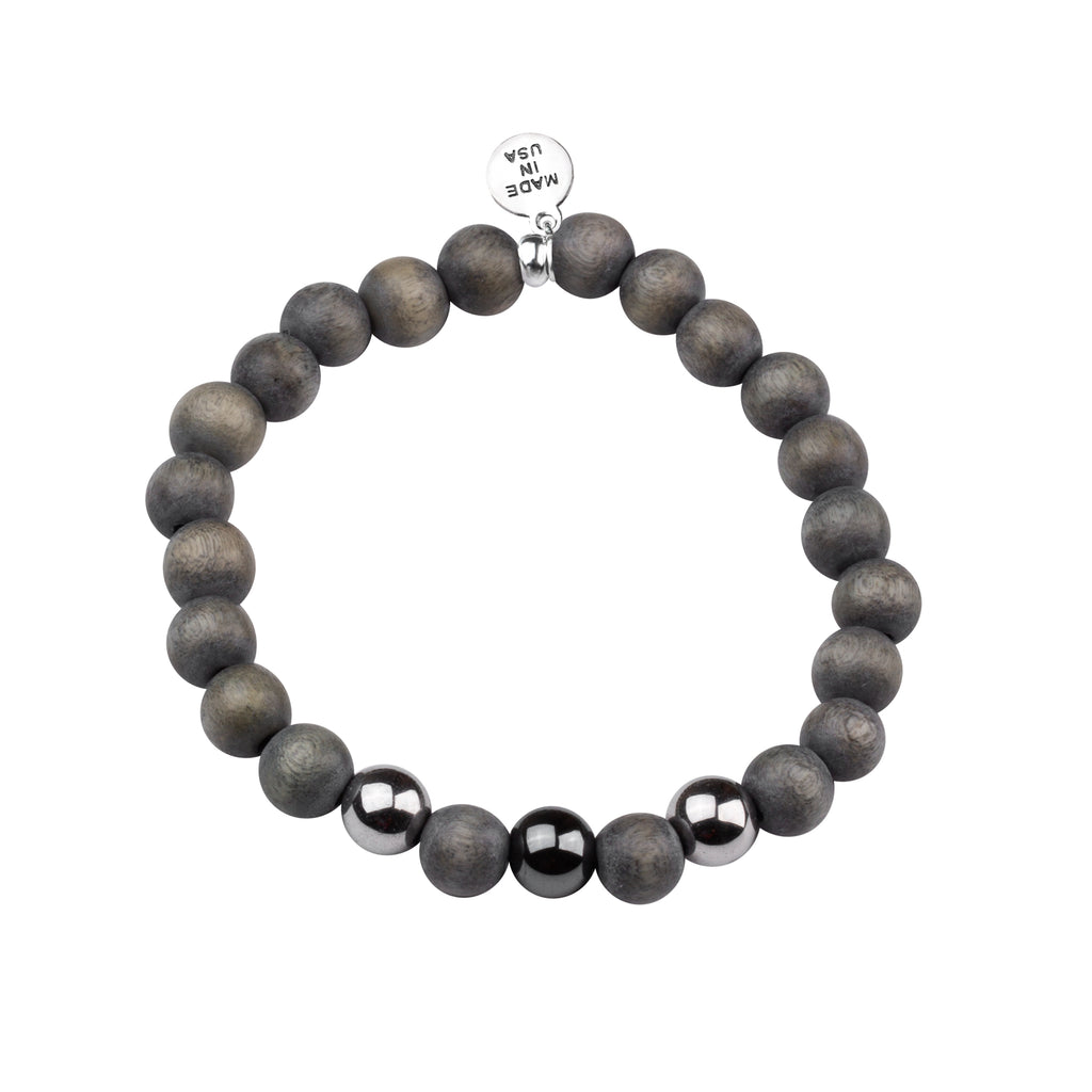 Men's -Wood Beaded Bracelet | Determination - Gray Wood