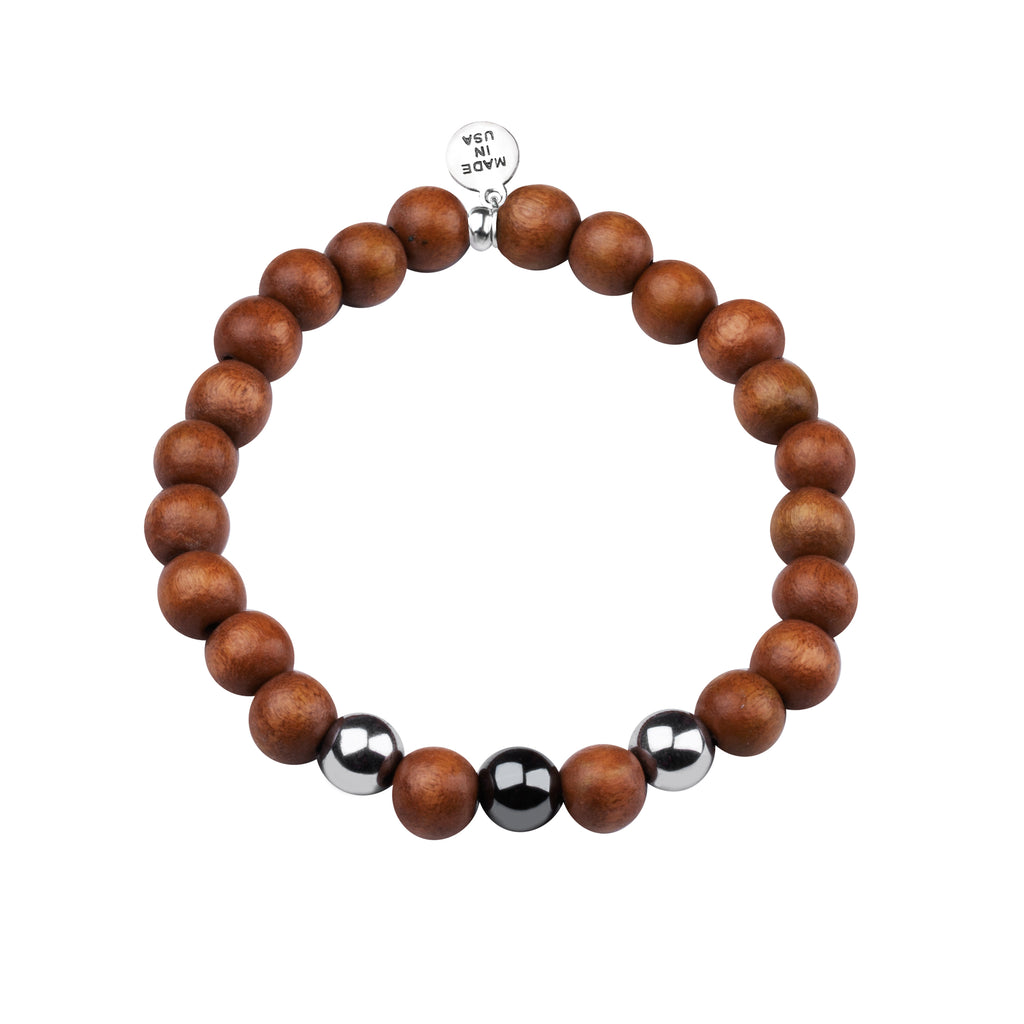 Men's -Wood Beaded Bracelet | Determination - Lt. Brown