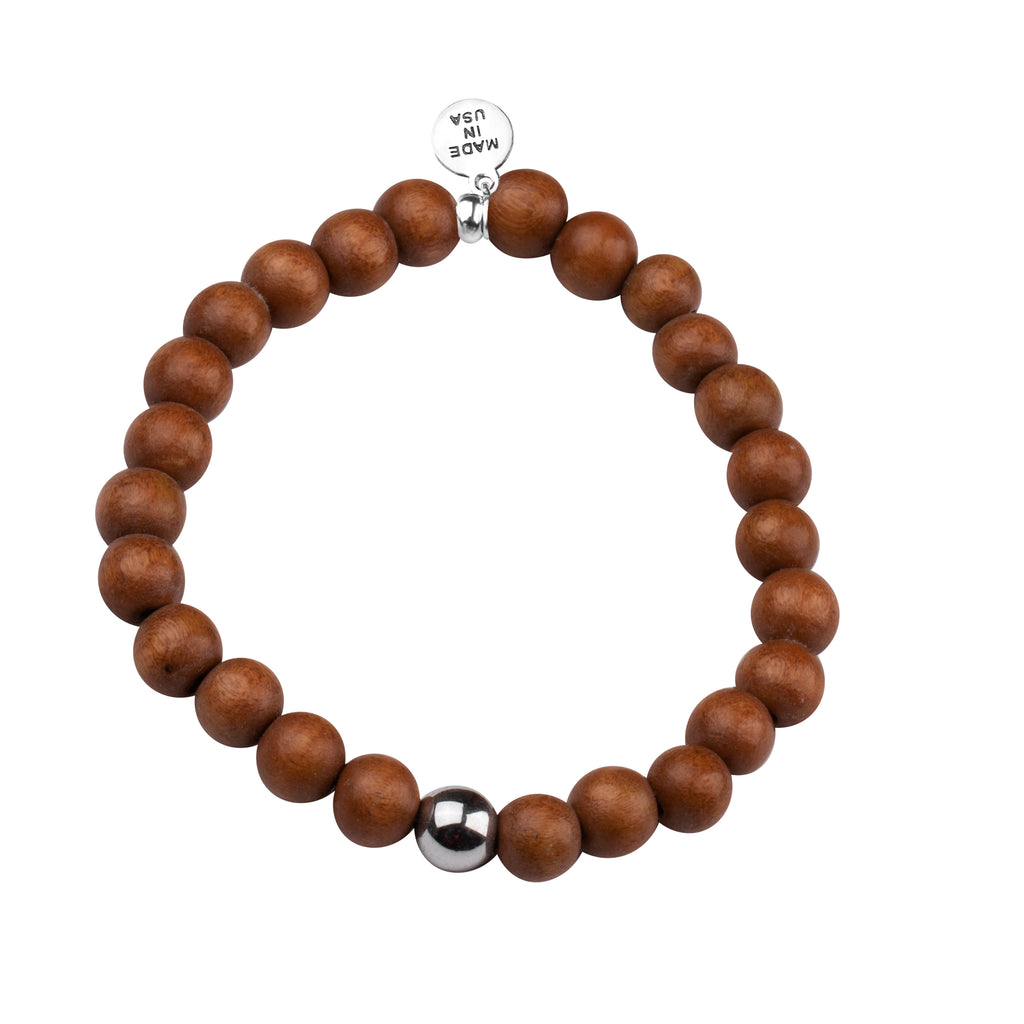 Men's -Wood Beaded Bracelet | Strength - Light Brown Wood