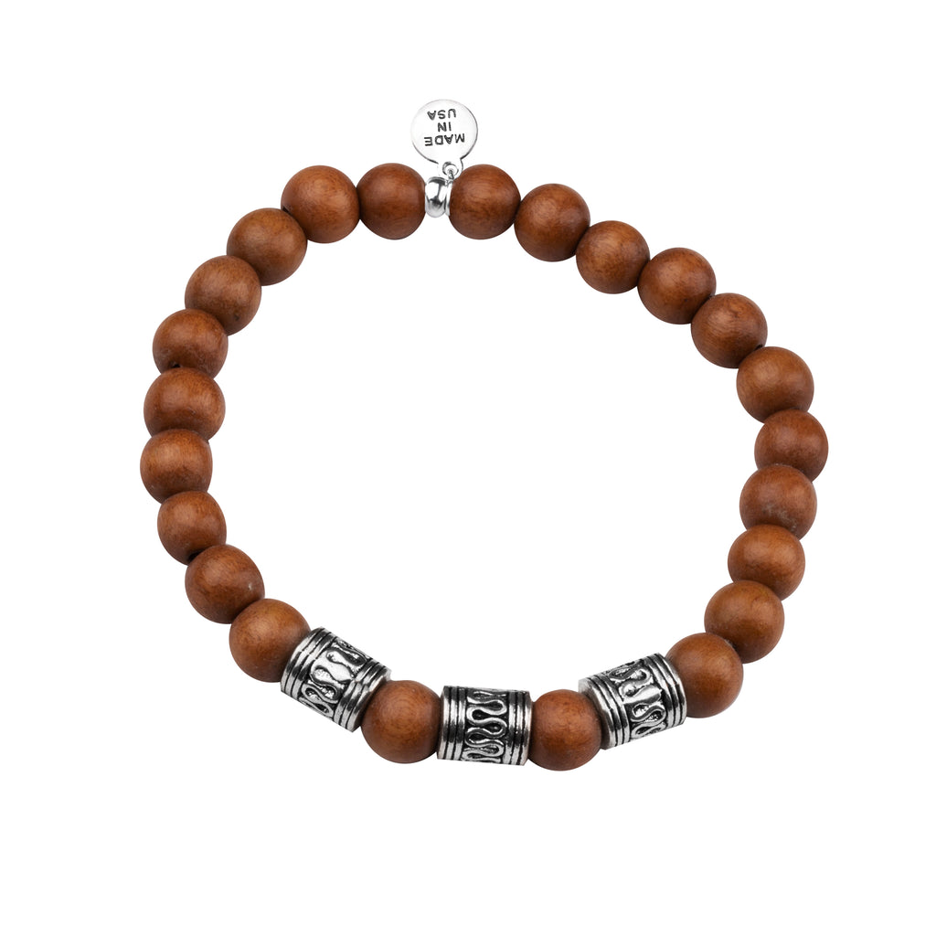 Men's -Wood Beaded Bracelet | Tribal - Light Brown Wood