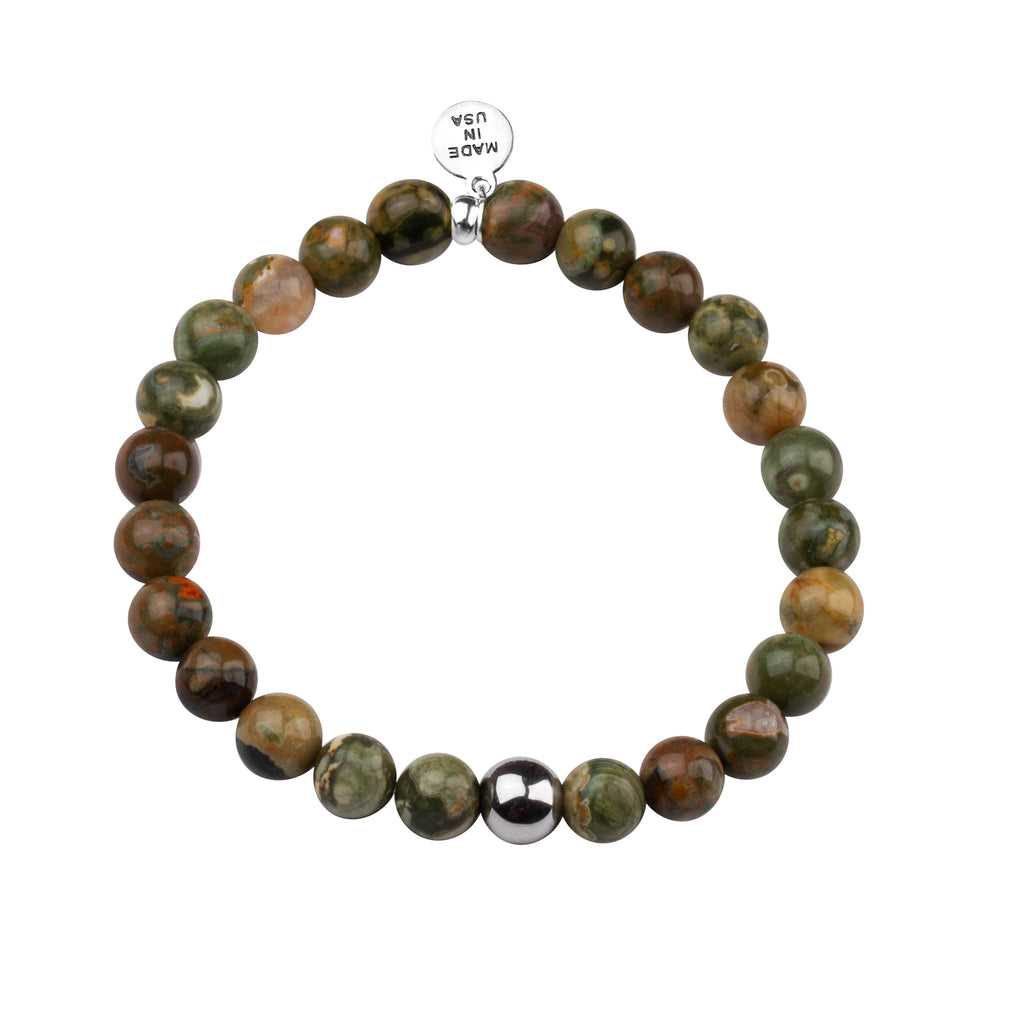 Men's -Stone Beaded Bracelet | Strength - Camouflage Jasper Stone