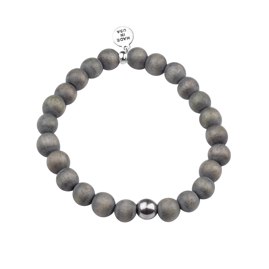 Men's -Wood Beaded Bracelet | Strength - Gray Wood