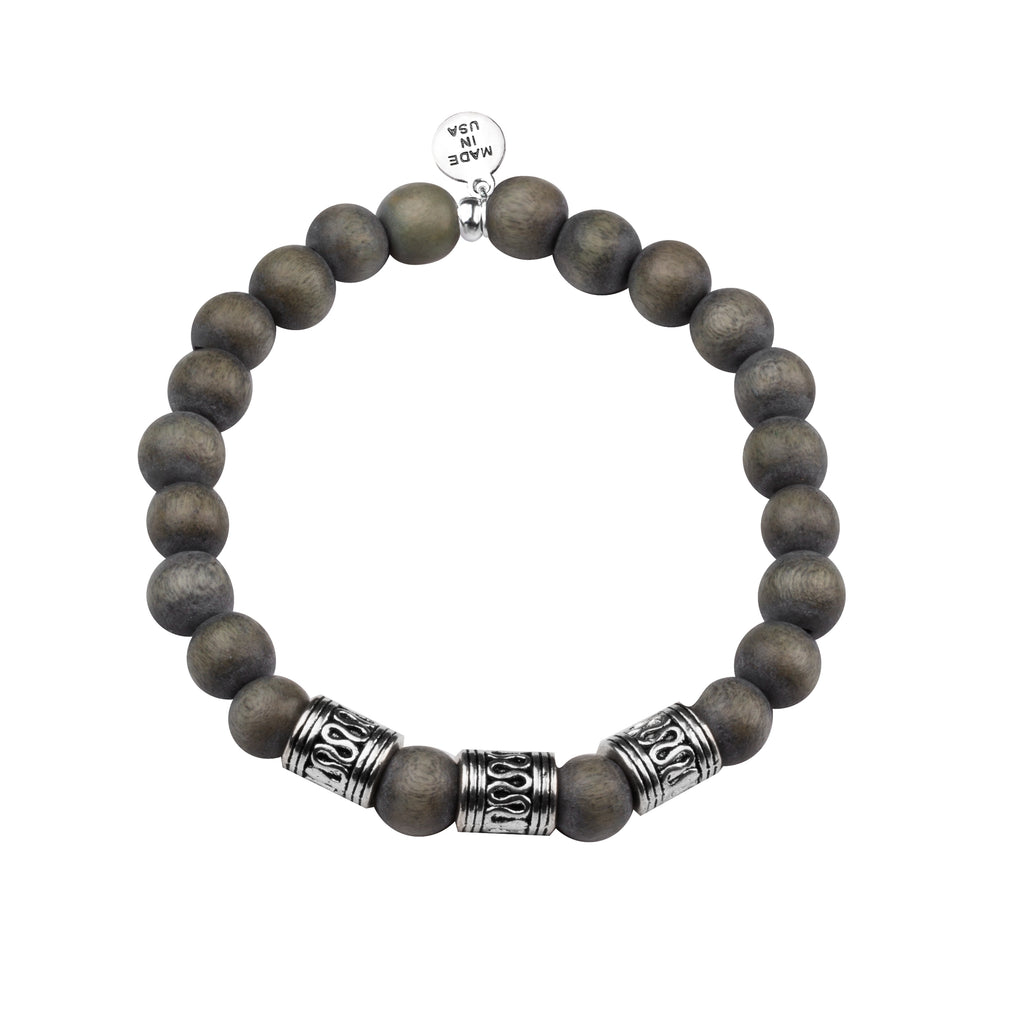 Men's -Wood Beaded Bracelet | Tribal - Gray Wood