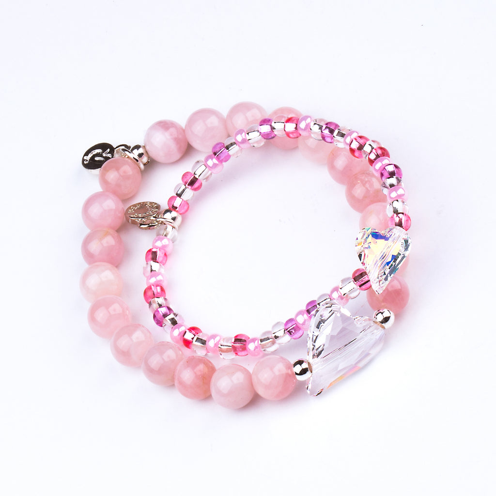 Heart - Amore - Child | Stone Beaded Charm Bracelet | Rose Quartz - Love