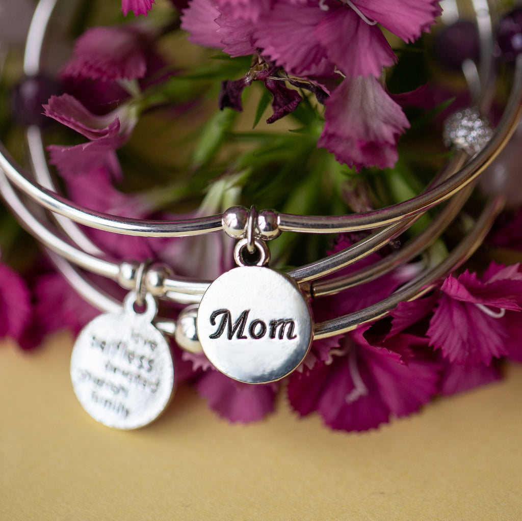 Mom | Soft Bangle Charm Bracelet | Turquoise
