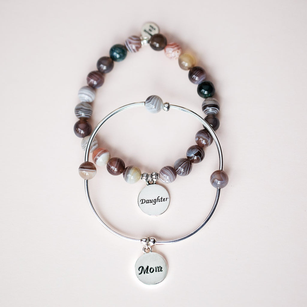 Daughter | Soft Bangle Charm Bracelet | Tiffany Blue Agate