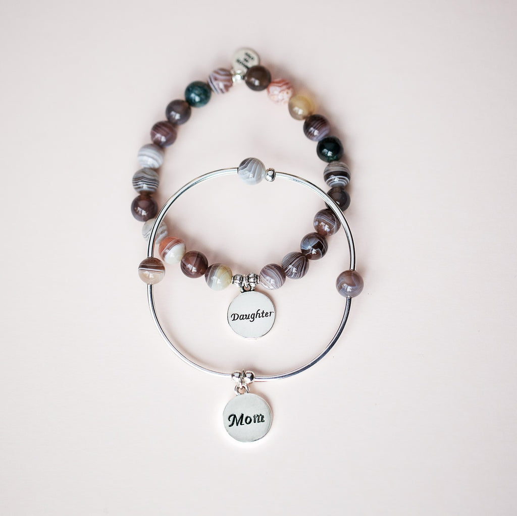 Sister | Stone Beaded Charm Bracelet | Rose Quartz