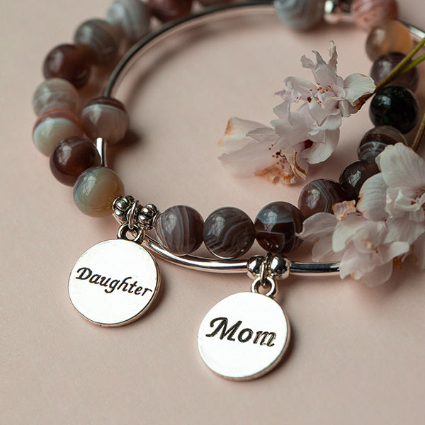 Mom | Stone Beaded Charm Bracelet | Rose Quartz