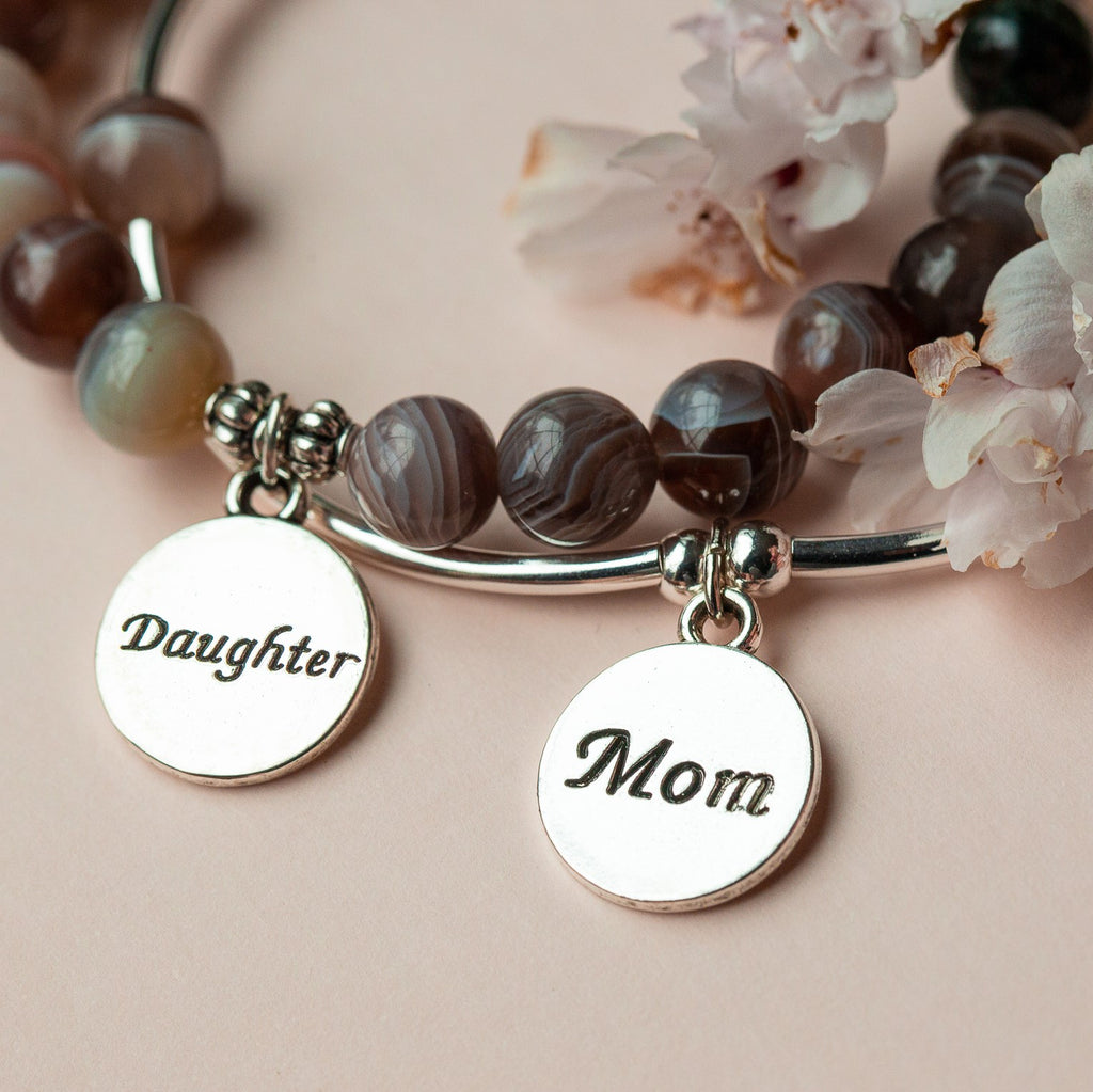 Daughter | Soft Bangle Charm Bracelet | Howlite