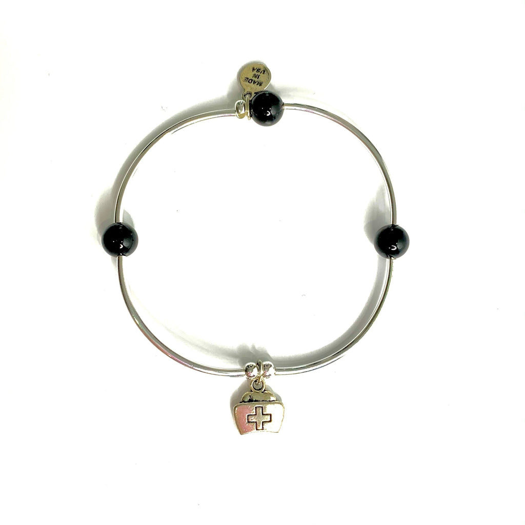 Nurse Cap | Soft Bangle Charm Bracelet | Onyx