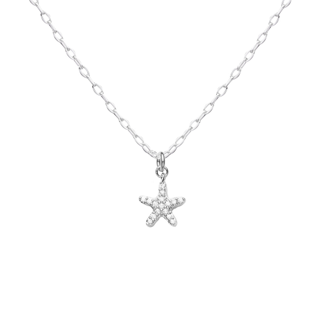 Starfish | Little Layer Necklace | Silver Charm-Pave