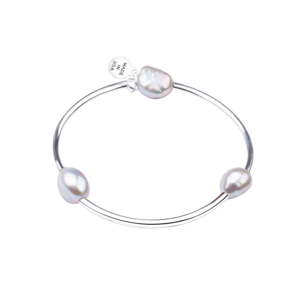 Pearl Tube Soft Bangle Bracelet | Natural Grey