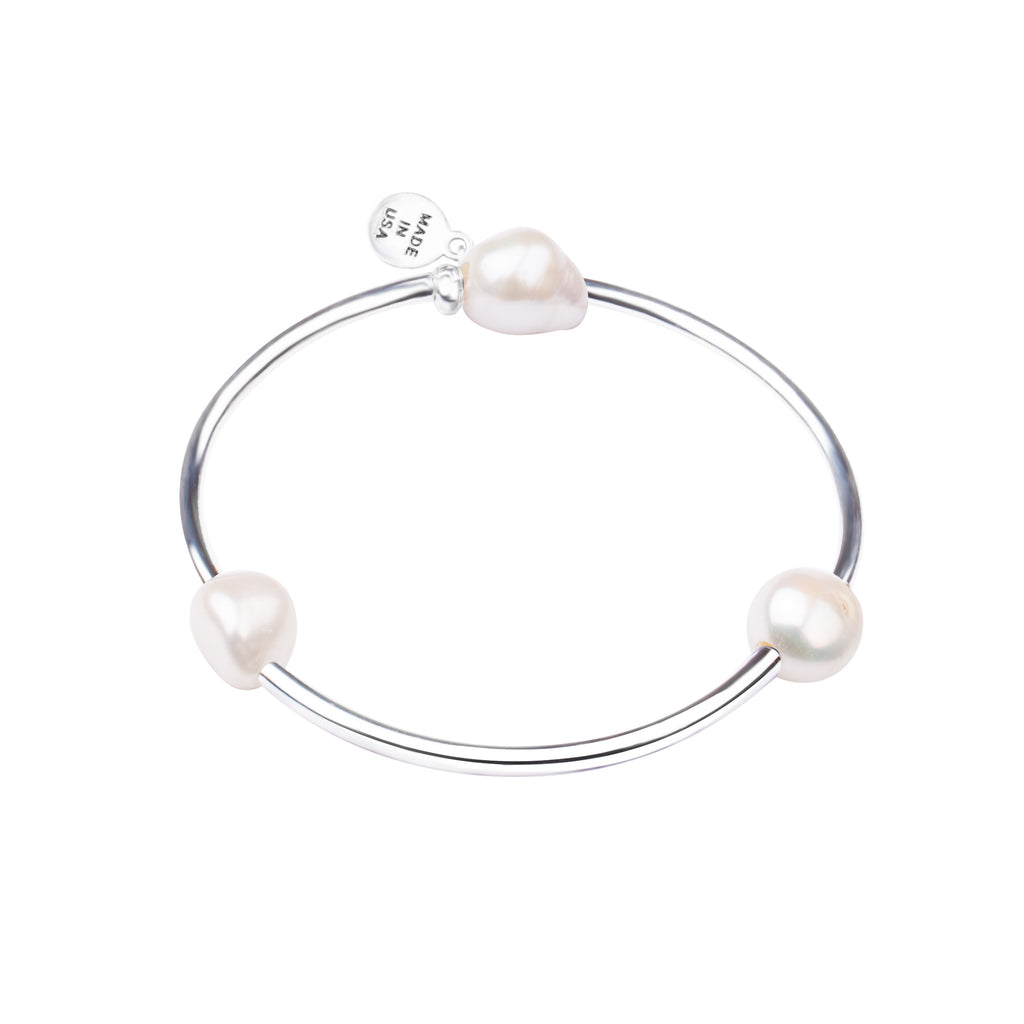 Pearl Tube Soft Bangle Bracelet | Natural White