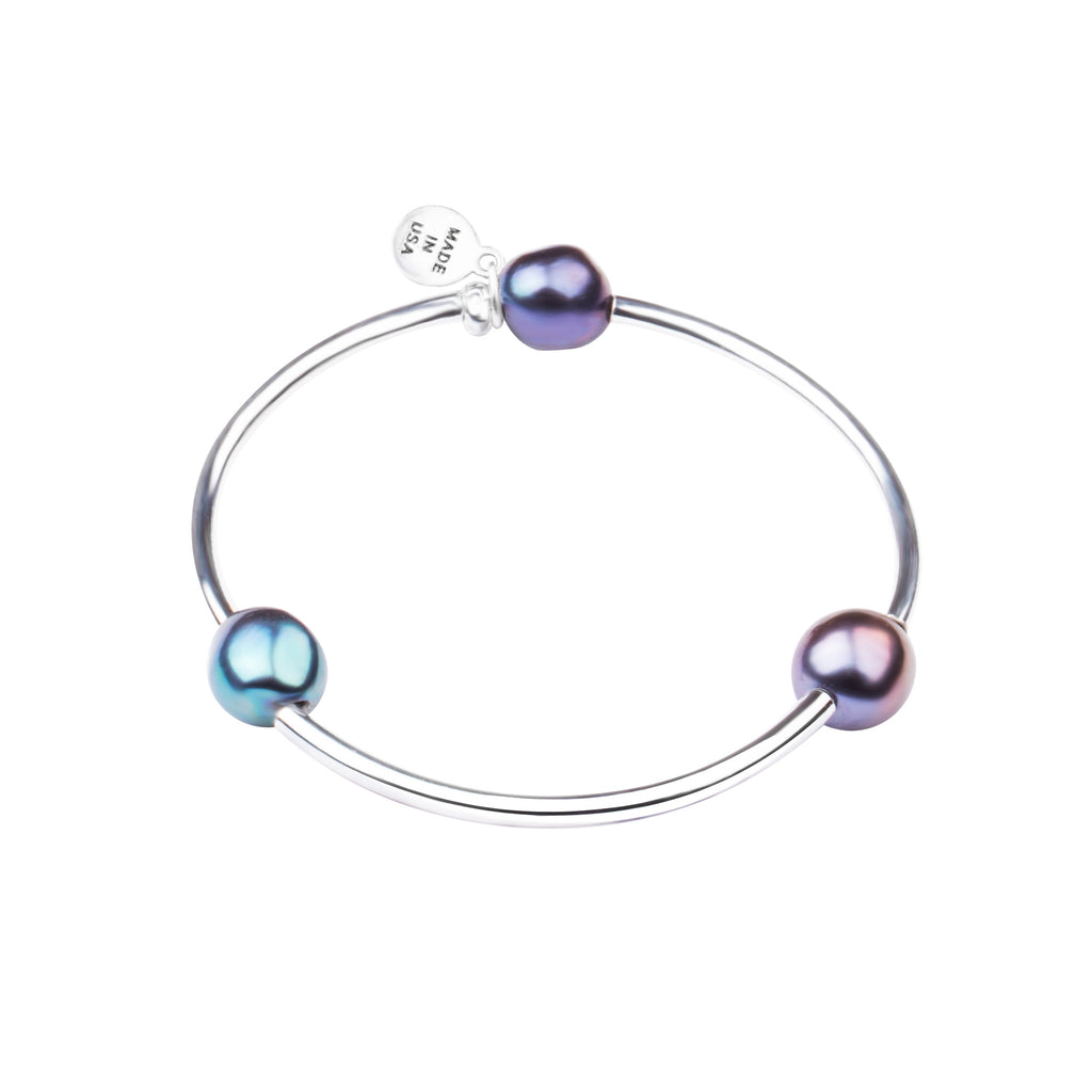 Pearl Tube Soft Bangle Bracelet | Peacock
