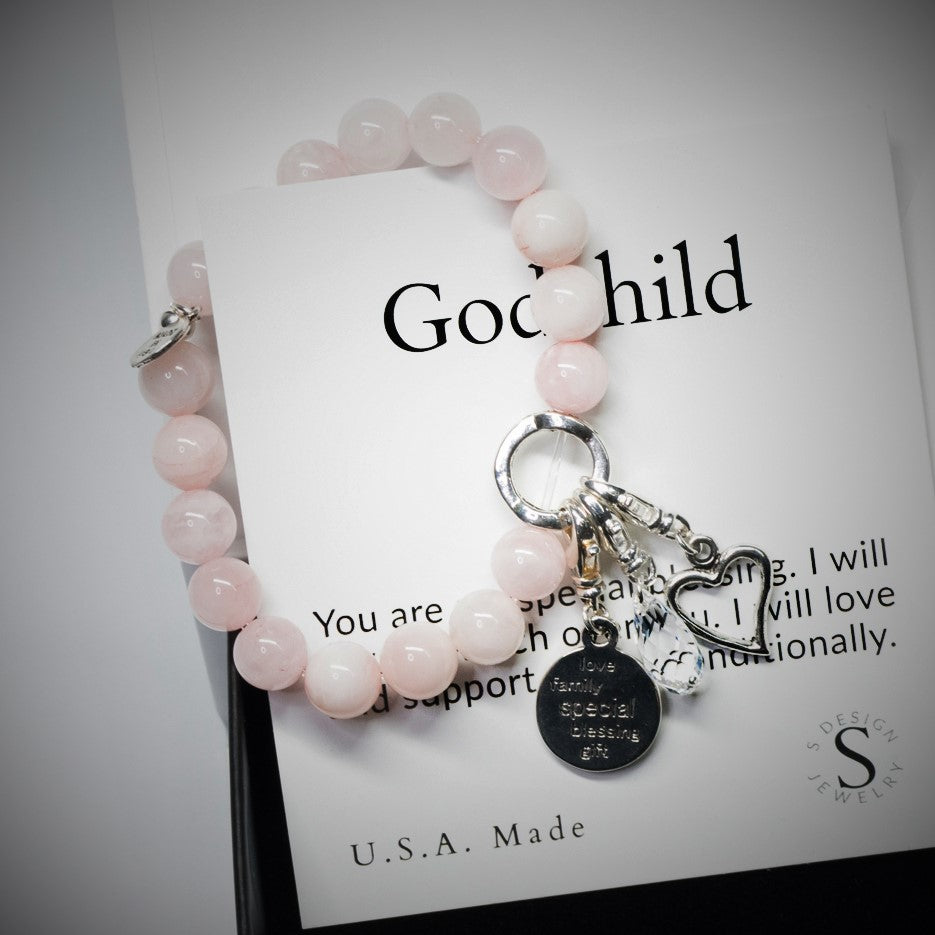 God Child | Charm Bracelet | Rose Quartz - Love