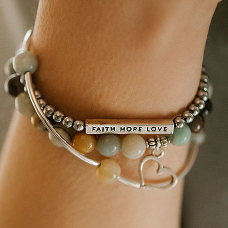 Mom | Stone Beaded Charm Bracelet | Amazonite