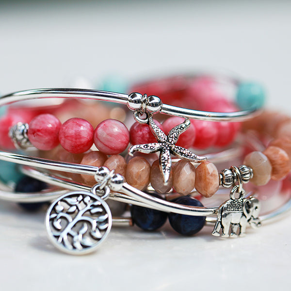 Anchor | Soft Bangle Charm Bracelet | Rose Quartz