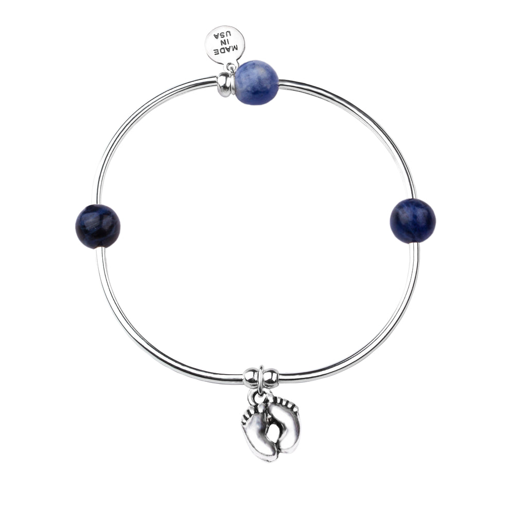 Baby Feet | Soft Bangle Charm Bracelet | Sodalite