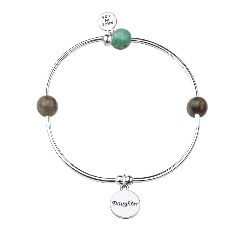 Daughter | Soft Bangle Charm Bracelet | African Turquoise