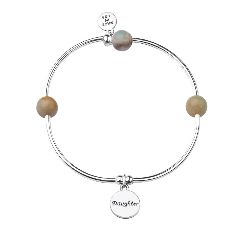 Daughter | Soft Bangle Charm Bracelet | Amazonite