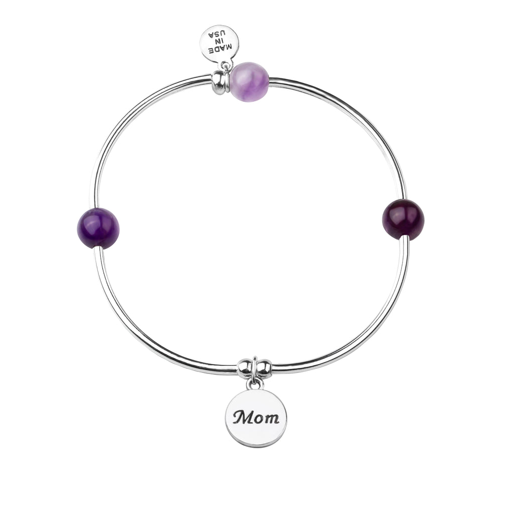 Mom | Soft Bangle Charm Bracelet | Amethyst